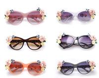 New 2014 Spring Women Baroque Sunglasses Girls Top Fashion Retro Rose Flowers Cat Eye Glasses Brand Designer Punk Eyeglasses