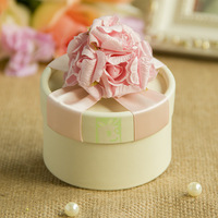 Elegant Candy Gifts Ivory Wedding Chocolate Handmade Favors Boxes With Pink Flower & Ribbon Set of 45 Free Shipping Wholesale