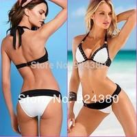 hot summer contrast tone bikini split set with rivet edge bra sexy women's swimwear high quality suit