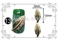 Free shipping 50pcs/lot Golden 5*13mm 3D Leaf Design Metal Nail Art Decoration Alloy Nail Accessory