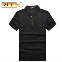 Zilli men's clothing t-shirt summer short-sleeve 2014 male turn-down collar silk comfortable business casual