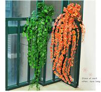 Wall Floral Vine Ivy Silk Fake Flowers Plastic Green Leaf Spot Rattan Artificial