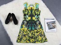 2015 new runway spring and summer fashion vintage print o-neck sleeveless slim plus size one-piece dress S,M,L,XL,XXL 1429