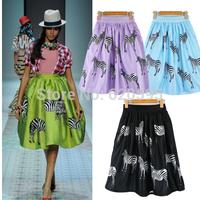 4 Colors New Spring Summer 2014 Fashion Brand Animal Horse Zebra Print High Waist Ball Gown Midi Skater Skirt Women Girl 048968