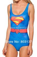 New 2014 Women SUPERMAN CAPE SUIT(No Cloak) Print Bikini Set Bodysuit Beach SWIMSUIT Swimwear Fitness Wetsuit Drop Ship S125-140