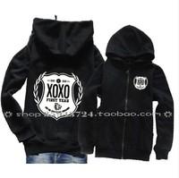 EXO sweater / XOXO / KISS & HUG / FIRST YEAR / Hooded / EXO XOXO Medal logo sweater bts exo hoodie