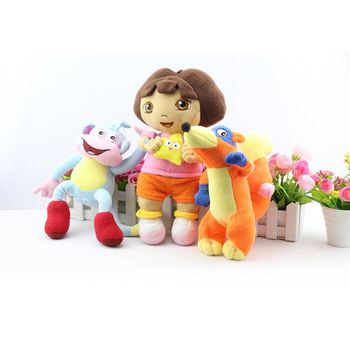 Free shipping 3pcs/Lot Dora the Explorer Dolls BOOTS FOX Stuffed Animals Monkey Toys children Baby Birthday gift(China (Mainland))