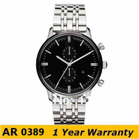 Original Watches AR0389 Brand Classic Quartz Round Gents Stainless Steel Chronograph Dial Analog Watch +Original Box Wholesale