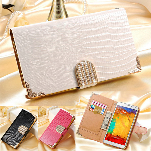 Wallet Shining Crystal Bling PU Leather Case For Samsung Galaxy Note 3 N9000 Luxury Phone Bag Rhinestone Buckle Cover Free Flim(China (Mainland))