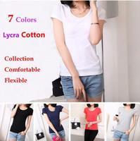 2014 Summer New Women Shirts, Lycra Cotton Women t-Shirts, Fashion Basic Collection Tee Shirts, 7 Candy Colors, Plus Size S-XXL