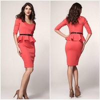 2014 New arrival summer women dress party evening Sexy Long Sleeve Belted Peplum Midi Dress B2207
