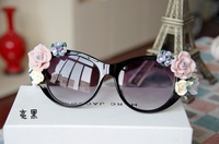 Women fashion sunglasses with the three-dimensional ceramic flower rose spectacles sunglasses Free shipping