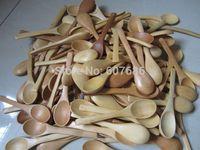 100 Pieces Small Wood Coffee Tea Spoon 13*2.8cm Sugar Salt Jam Mustard Ice Cream Spoons Wooden Handmade Utensils Free Shipping