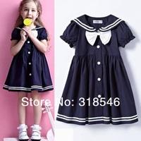 Free shipping 6pcs/lot  girs class dress girls navy sailor dress girls preppy style short sleeve cotton dress 3-8years