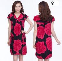 in stock Spring Summer plus size XL XXL XXXL elegant female clothing women's one-piece slim floral print dress Free shipping
