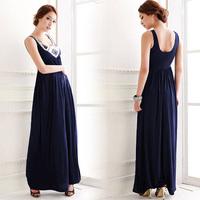 2014 Summer Elegant Women Solid Sequined Backless Floor-Length Braces Loose Long Dress Vestidos, Blue, Size Free