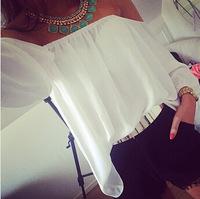 blusas femininas 2014 white loose long sleeve casual women ladies blouses sheer blouses tops for women shirts chiffon blouse