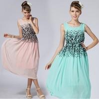 Free Shipping Made In China 2014 Women's Dress European and American Fashion Chiffon Slim Dots Print Slim Waist 8503#
