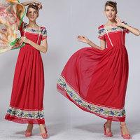 New Arrivals Women's Dress Chiffon Slim Bohemia Beach Dress Dots and Floral Print Laciness Red Colour Tank Dress 8510#