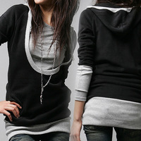 2014 Spring New Fashion Women False Two Piece Patchwork T Shirts Long Sleeve Tops Tees, Black+Gray, M, L, XL