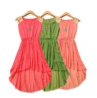 2014 Summer fashion women irregular chiffon dress, big size candy color paillette vest one-piece dress,summer sexy dress