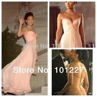Free Shipping EVE 7  A-Line Floor-Length Sweetheart Ruffle Light Pink  Long Chiffon Prom  Celebrity Dress 2014