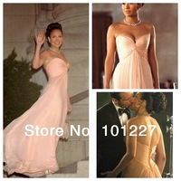 69.99 USD Free Shipping EVE 7  A-Line Floor-Length Sweetheart Ruffle Light Pink  Long Chiffon Prom  Celebrity Dress 2014