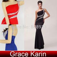 2014 Grace Karin Backless Split One Shoulder Black Red Blue Purple Evening Dress Long Prom Party Gowns CL6062