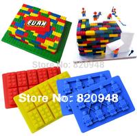 Free Shipping 1 Set = 1 Bruilding Brick & 1 Figure Silicone Mould Robot Sugarcraft Sugarpaste Chocolate Birthday Topper Ice Cube
