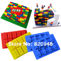 Free Shipping 1 Set Link Bruilding Bricks Figure Silicone Mould Robot Sugarcraft Sugarpaste Chocolate Birthday Topper Ice Cube