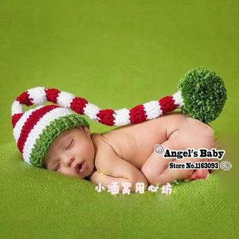 Angel's Baby #J2634-4 Handmade Crochet Beanie Baby Long Tail Elf Caps Newborn Photography Props Children Accessories Child Caps(China (Mainland))