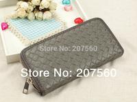2014 new fashionable imitation woven PU leather women zipper wallet, unisex wallets