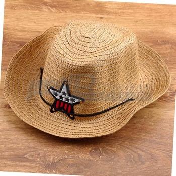 1 шт. дети соломы западная ковбой вс шляпа с регулируемым ремешком кепка бесплатная доставка новое