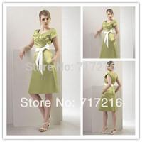 Top Quality Elegant A-line Short Sleeve V-Neck Knee Length Empire Ruched Satin 2015 New Arrival  Prom Dresses Evening Dresses