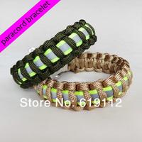 Paracord Bracelet,Survival Weave wristband,Reflective Material,Zinc alloy Adjustable buckle 10pcs/lot Free Shipping