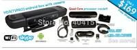 The quad core Google Android 4.2.2 5MP-8MP AF camera/webcam Bluetooth TV box android skype 5.0mp camera webcam XBMC TV  box