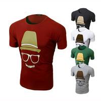 New 2014 summer Mens Short Sleeve O-neck Printing T-shirt  Cotton casual men t shirt multicolor T-shirt