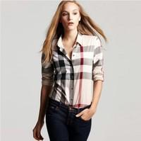 New Spring Summer 2014 Fashion Women Body Cotton Plaid Full Sleeve Casual Plus Size Blouse Ladies Vintage Shirts Female Shirt