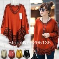 2014 new Fashion Women batwing sweater pullover long sleeve knitwear coat Tassels Hem style knitting Poncho Cloak Sweater Shawl