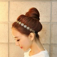 Free Shipping Fashion Korean Gold Alloyo Shiny Rose Flower Headbands For Women A5R10 ( Hot selling)