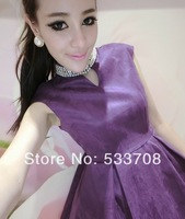 Aim 2014 spring sexy beading cutout stand collar slim waist high waist one-piece dress