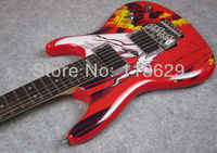 Electric Guitar, Transfer Print on Guitar Body, Red, High Quality