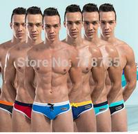 WA !!! Fashion Men Swim Trunks Low-waist Five Color Male Trunk Swimwears Men RED BLUE BLACK GREY BEST GIFTS