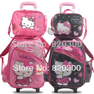 2014 Hello Kitty Kids Cartoon Trolley School Bags 2 in 1 SET primary student girls bag on wheels Luggage bag free shipping(China (Mainland))
