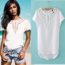 Summer Womens Fashion Wild Irregular Carved Hollow Crew Neck Tees Top Short Sleeve Chiffon T-Shirt  Colors Drop Shipping 6938(China (Mainland))