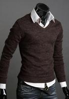Free Shipping 2014 Pullover Men Autumn And Winter Male Solid Color California Rabbit Fur V-neck Multicolor Basic Slim Sweater