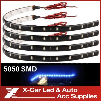 New 4Pcs 30cm blue/green/red/white waterproof Light 5050 12 SMD High Power Flexible LED Car Strips(China (Mainland))