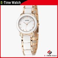 Luxury Brand Kimio Women Rhinestone Watches Ceramic Fine Steel Strap Dress Wristwatch Woman Fashion Quartz Watch JW6413