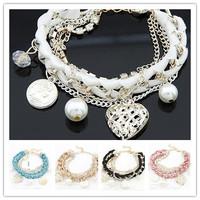 2014 hot!New fashion woven heart Bracelets & Bangles!Free shipping