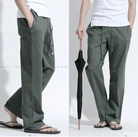 Free shipping 2014 Summer new men's linen pants men's fashion loose breathable linen pants straight casual trousers  Plus size